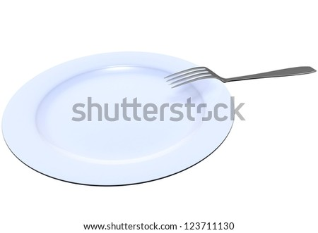 The fork lies on a dark blue plate on the white isolated background - stock photo