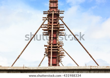 The form work vertical supported by series of wooden support - stock photo