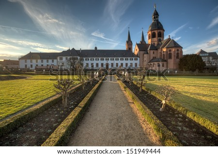 The former Benedictine abbey and herb garden in Seligenstadt. - stock photo