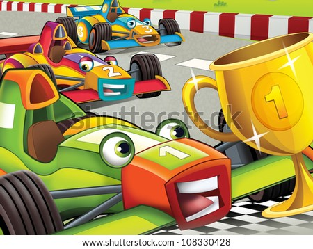 The formula race - lot of action - inspirational illustration for the children - stock photo