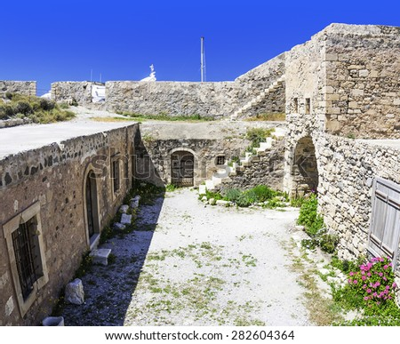 The fort of Lerapetra was built to protect the port and the city some time in the 13th century by the Venetians. - stock photo