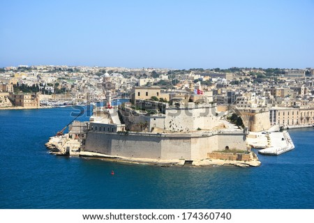 the fortified grand harbour in Valletta, Malta - stock photo