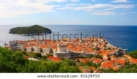 The fortress of Dubrovnik from the top on a sunny day - stock photo