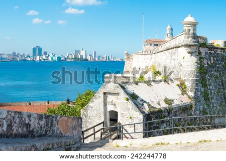 The fortress of El Morro in Havana with a view of the city skyline - stock photo