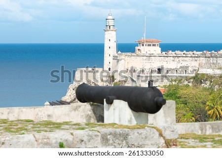 The fortress of El Morro in Havana with  old spanish cannons on the foreground - stock photo
