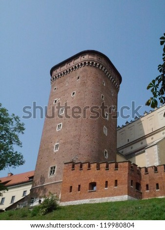 The fortress of the Wawel hill in Krakow in Poland - stock photo