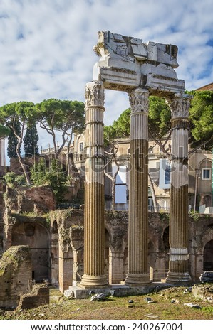 The Forum of Caesar and the Temple of Venus Genetrix, Rome - stock photo