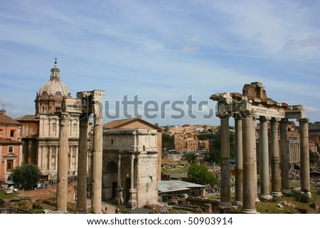 The Forum Romanum in Rome, Italy, with the ruins of several temples