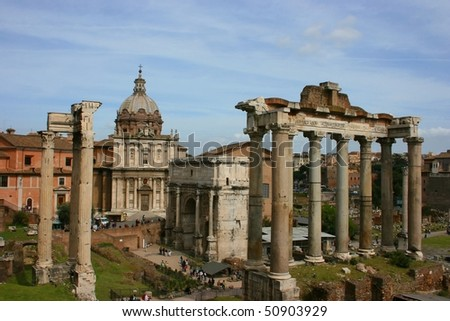 The Forum Romanum in Rome, Italy, with the ruins of several temples - stock photo
