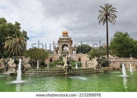 The Fountain and cascade in park De la Ciutadella in Barcelona, Spain - stock photo