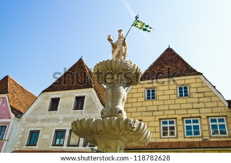 the fountain at the launch site in steyr, upper austria, austria - stock photo