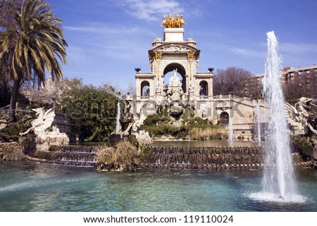 The fountain Cascada in the Parc de la Ciutadella, Barcelona, Spain built for the 1888 Universal exhibition. Designed by Josep Fonts�¨re who was assisted by Antoni Gaud�­ and took 6 years to complete. - stock photo