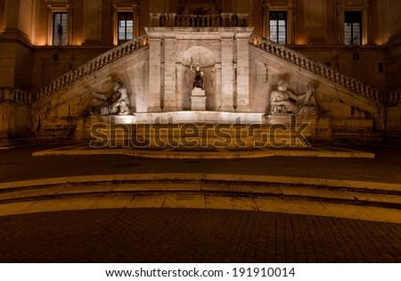 The Fountain of Goddess Roma by night, Piazza del Campidoglio, Rome, Italy - stock photo