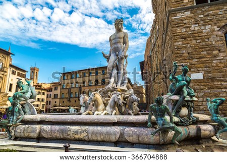 The Fountain of Neptune in a summer day  in Florence, Italy - stock photo