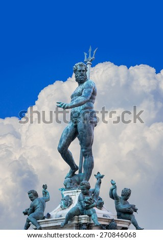 The Fountain of Neptune, monumental civic fountain located in the eponymous square Piazza Nettuno next to Piazza Maggiore in Bologna, Italy. - stock photo