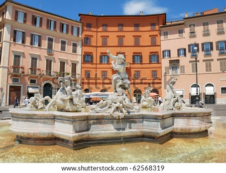 The fountain of Neptune on Navona square in Rome, Italy. - stock photo