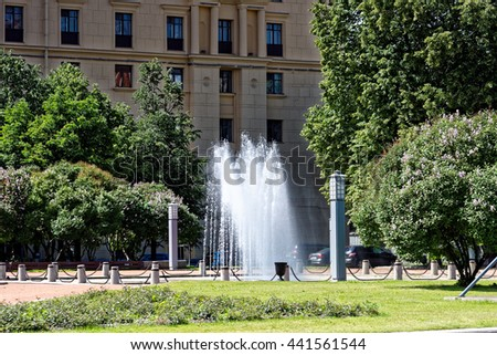 The fountain on Petrogradskaya embankment, St.Petersburg, Russia.