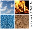 The Four Elements - Air, Fire, Water, Earth - stock photo