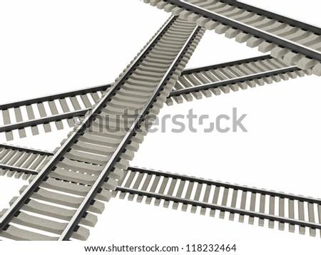 The four railways on a white background - stock photo
