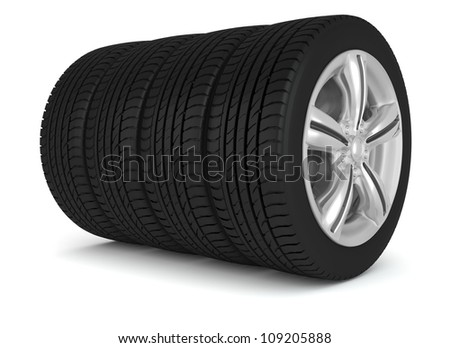 the four wheels isolated on white background - stock photo
