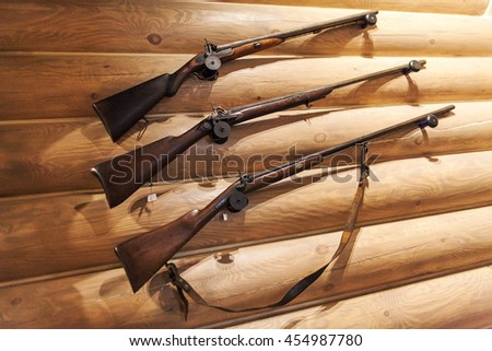 the fowling piece on a wooden wall. - stock photo
