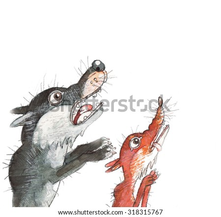 the Fox and the wolf on a white background animals husnicioara,art