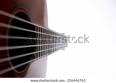 the fragment of classical guitar closeup