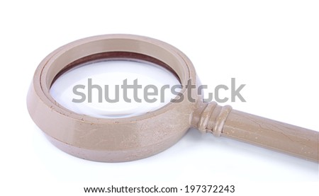 The fragment of the loupe isolated on the white background