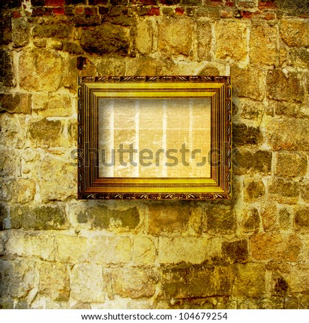 The frame for the picture on the background of the old masonry - stock photo