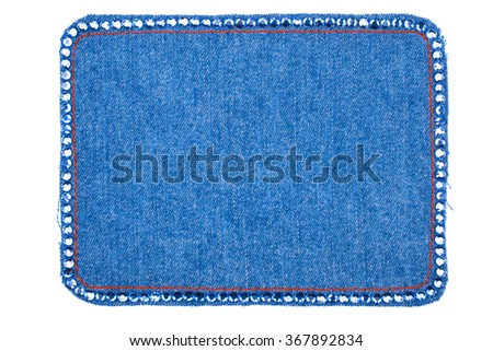 The frame is made from denim with blue rhinestones, isolated on a white background. With space for text