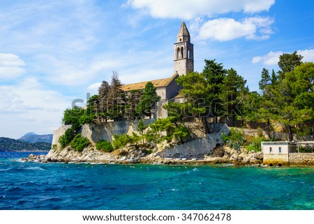 The Franciscan Monastery, in the village Lopud, Lopud Island, one of the Elaphiti Islands, Croatia - stock photo