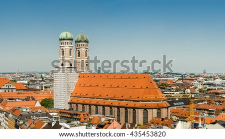 The Frauenkirche (Munich Cathedral) is a church in the Bavarian city of Munich, Germany. It is a landmark and is considered a symbol of the Bavarian capital city.  - stock photo
