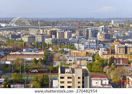The Freemont bridge and industrial area Portland Oregon. - stock photo