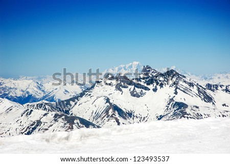 The French Alps with blue sky