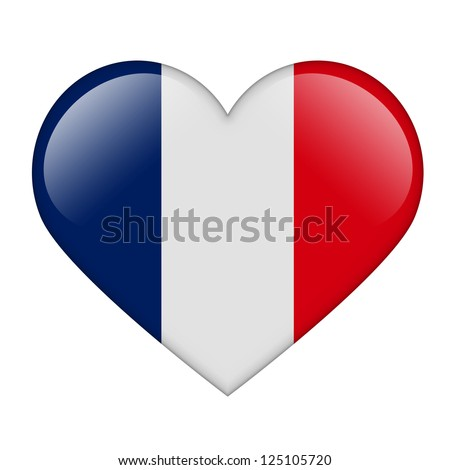 The French flag in the form of a glossy heart - stock photo