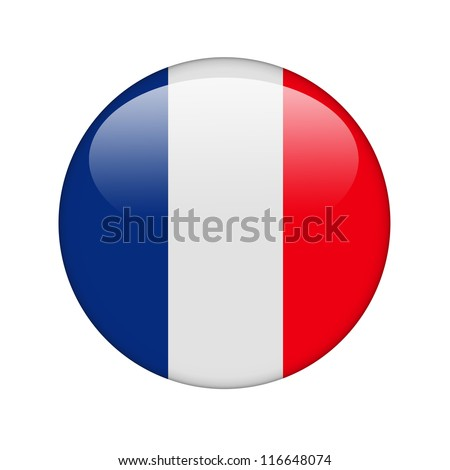 The French flag in the form of a glossy icon. - stock photo