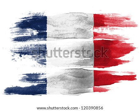 The French flag painted on white paper with watercolor