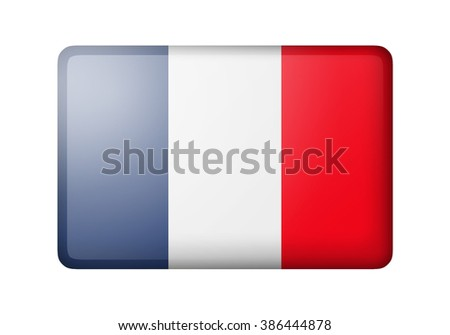 The French flag. Rectangular matte icon. Isolated on white background. - stock photo