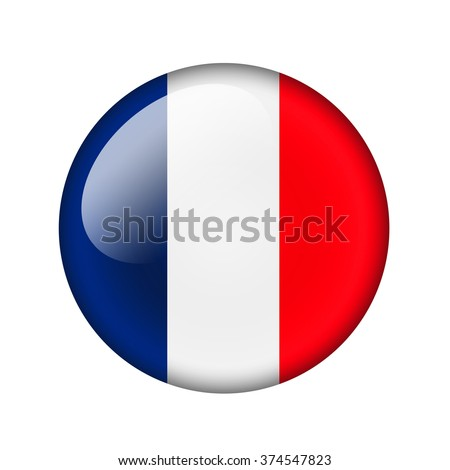The French flag. Round glossy icon. Isolated on white background.