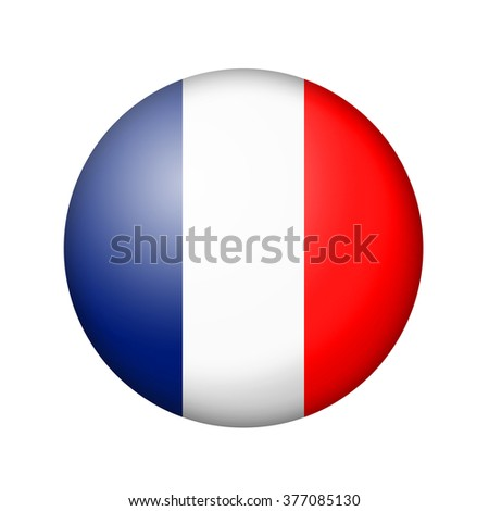 The French flag. Round matte icon. Isolated on white background. - stock photo
