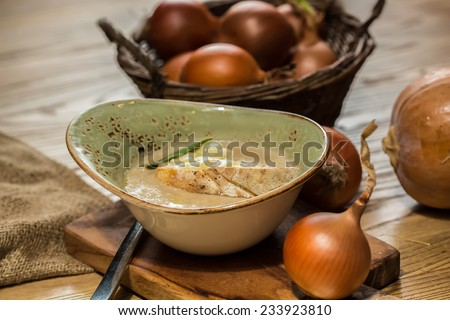 The french onion gratin soup. selective Focus - stock photo