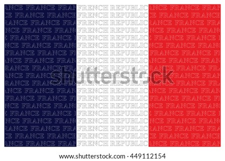 The French Republic flag with overlaid text isolated on white background