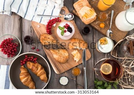 the fresh breakfast - stock photo