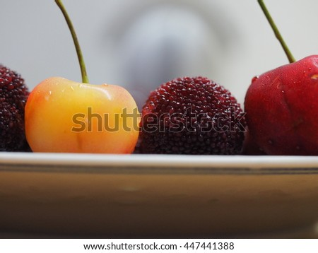 The fresh cherry and red bayberry