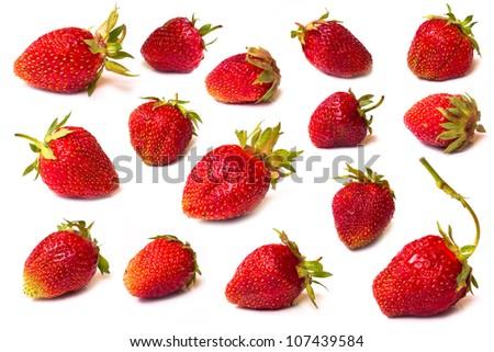 The fresh cut strawberries set on a white - stock photo