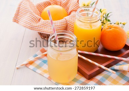 The fresh juice which is in the mason jar