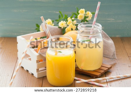 The fresh juice which is in the mason jar - stock photo
