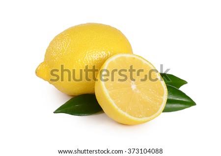 The fresh lemon isolated on white background - stock photo