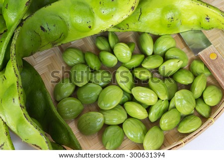 The fresh Parkia is tropical stinking edible beans in weave basket on weave tray with knife - stock photo