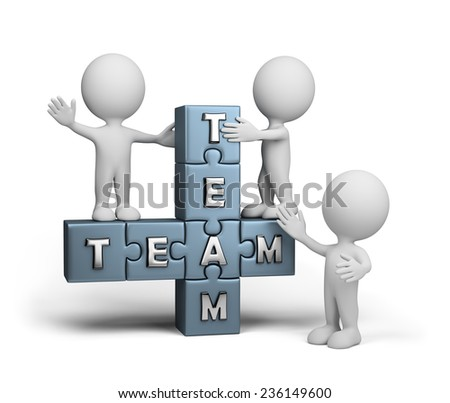 The friendly team is ready to work. 3d image. White background. - stock photo